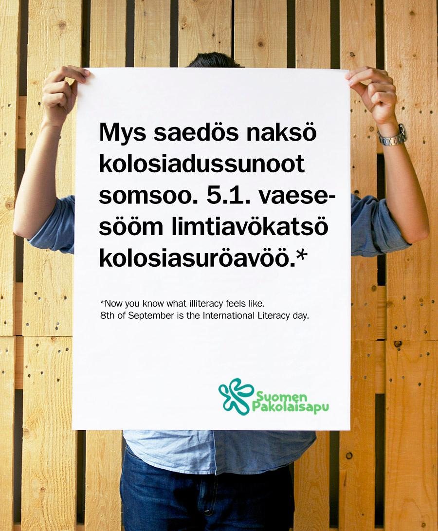 Finnish Refugee Council Digital Ad -  The Illiteracy Font