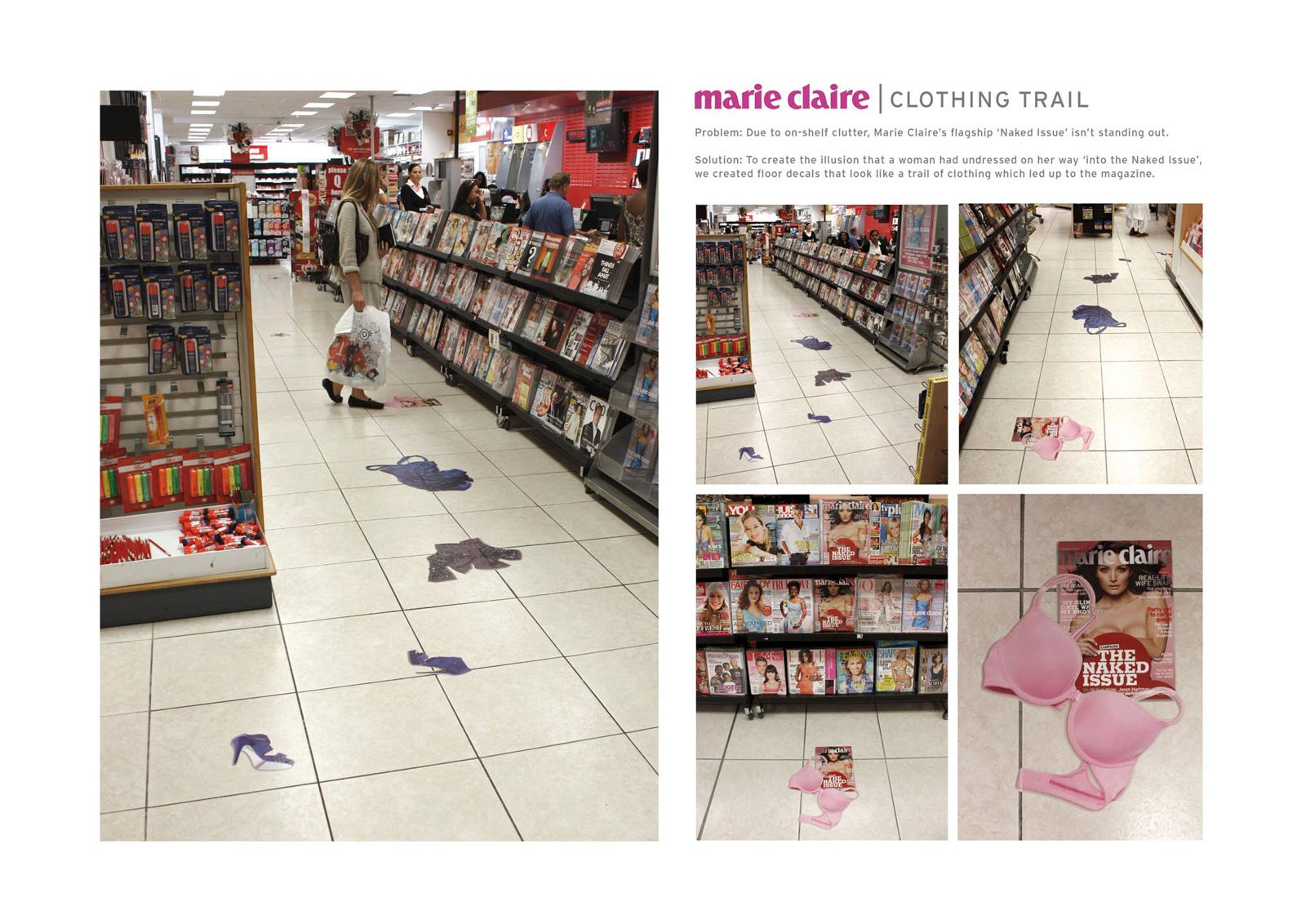 Marie Claire Ambient Ad -  Clothing trail