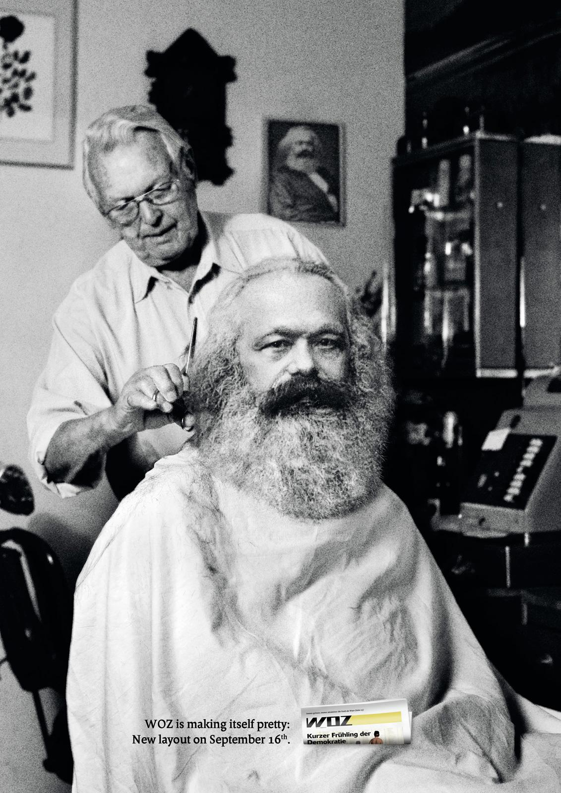 WOZ Print Ad -  Marx Getting Pretty...