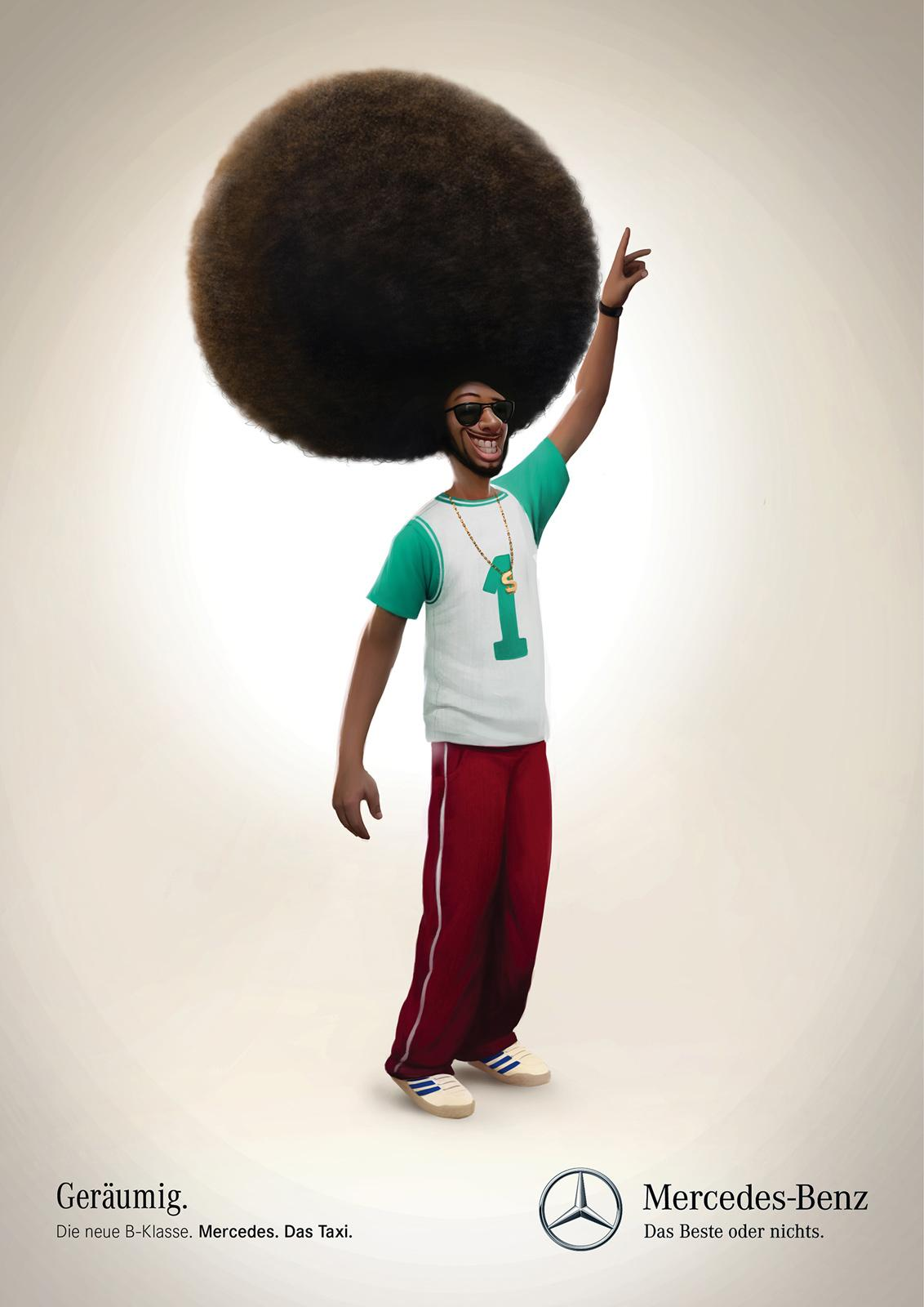 Mercedes Print Ad -  Taxi, Afro