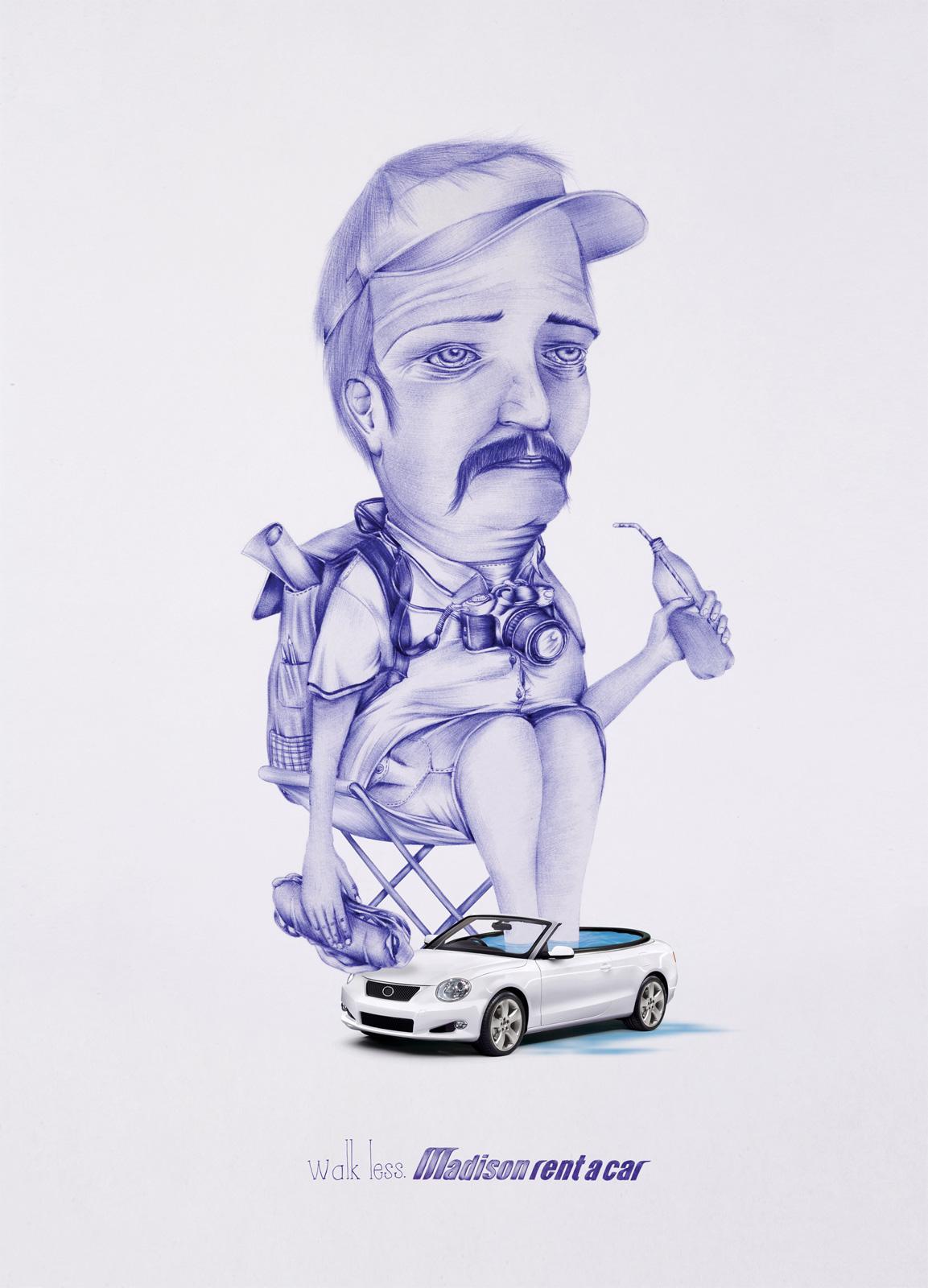 Madison Rent a Car Print Ad -  Washbowl car, Tourist, 2