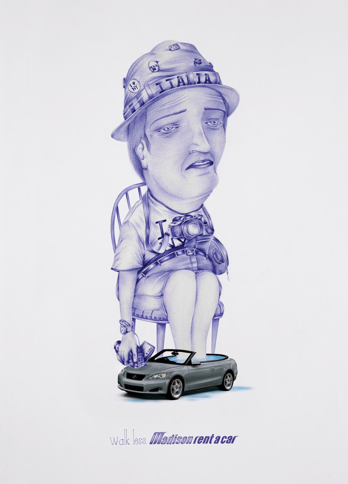Madison Rent a Car Print Ad -  Washbowl car, Tourist, 3
