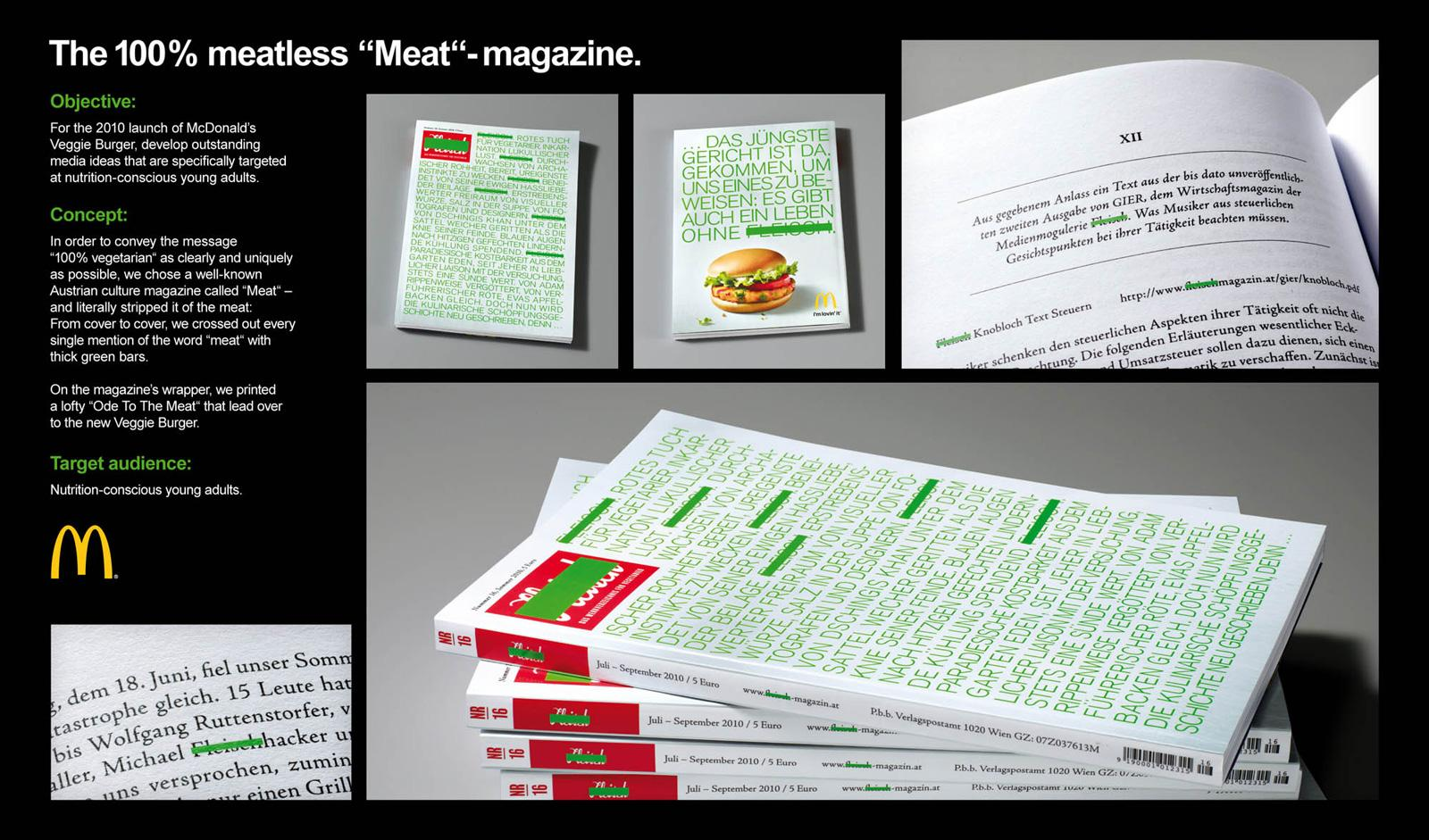 """McDonald's Direct Ad -  The 100% meatless """"Meat""""-magazine"""