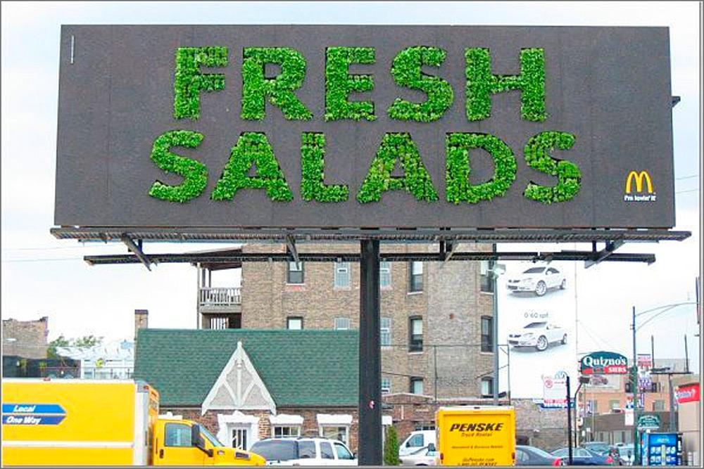 McDonald's Ambient Ad -  Fresh salad billboard