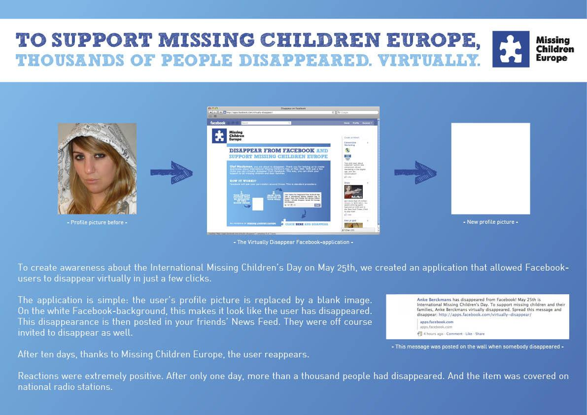 Missing Children Europe Digital Ad -  Disappear from Facebook