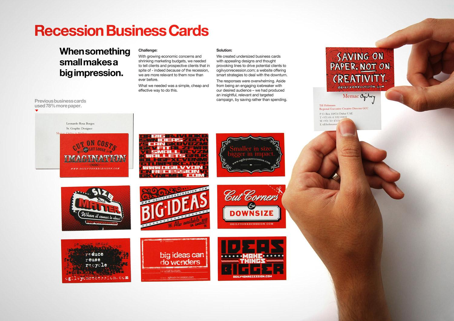 Ogilvy Direct Ad -  Recession business cards
