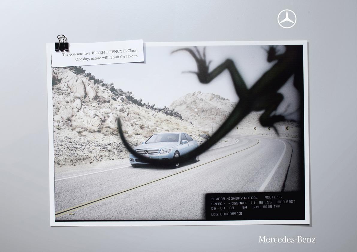 Mercedes Print Ad -  Lizard