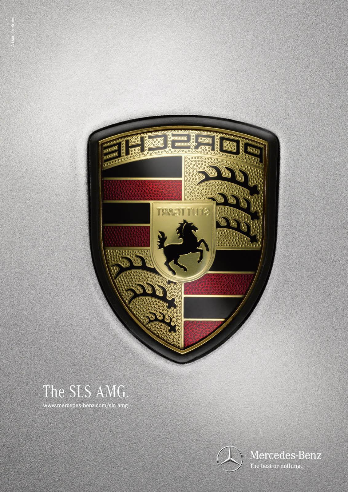 Mercedes Print Ad -  Logos, Porsche