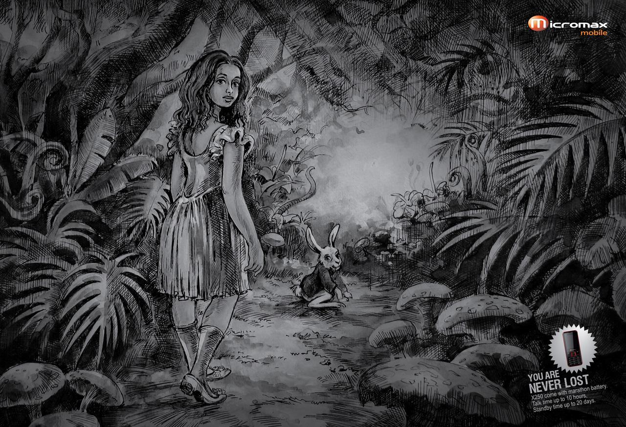 Micromax Mobile Print Ad -  Alice in Wonderland
