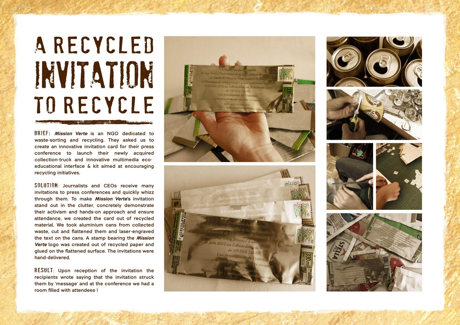 Mission Verte Direct Ad -  Recycled Invitation