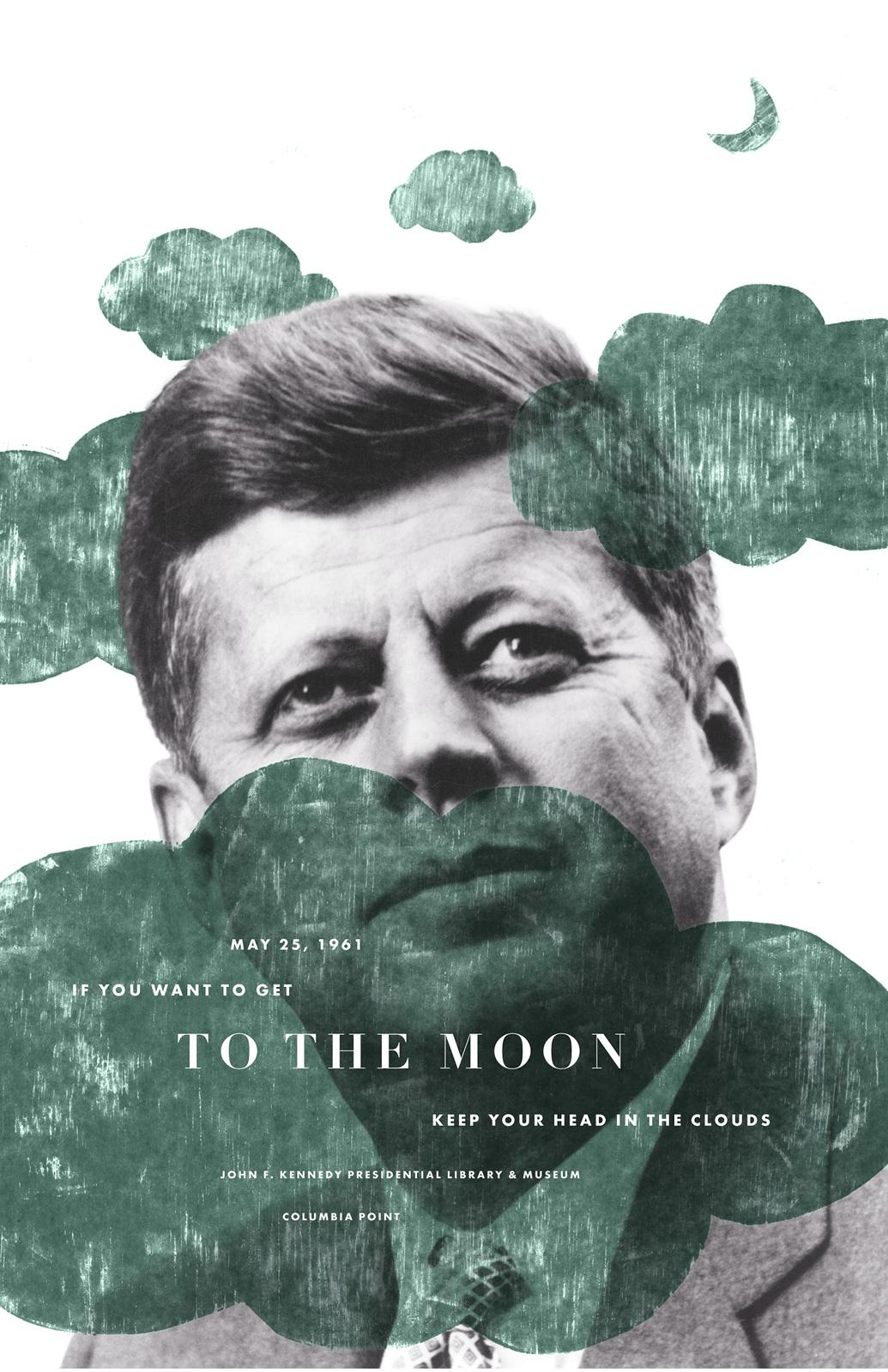 The JFK Presidential Library and Museum Print Ad -  Moon