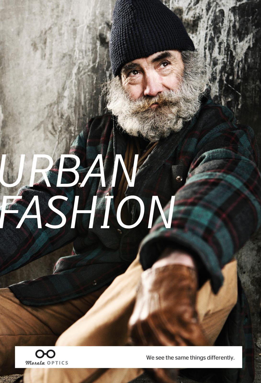 Morela Optics Print Ad -  Homeless man