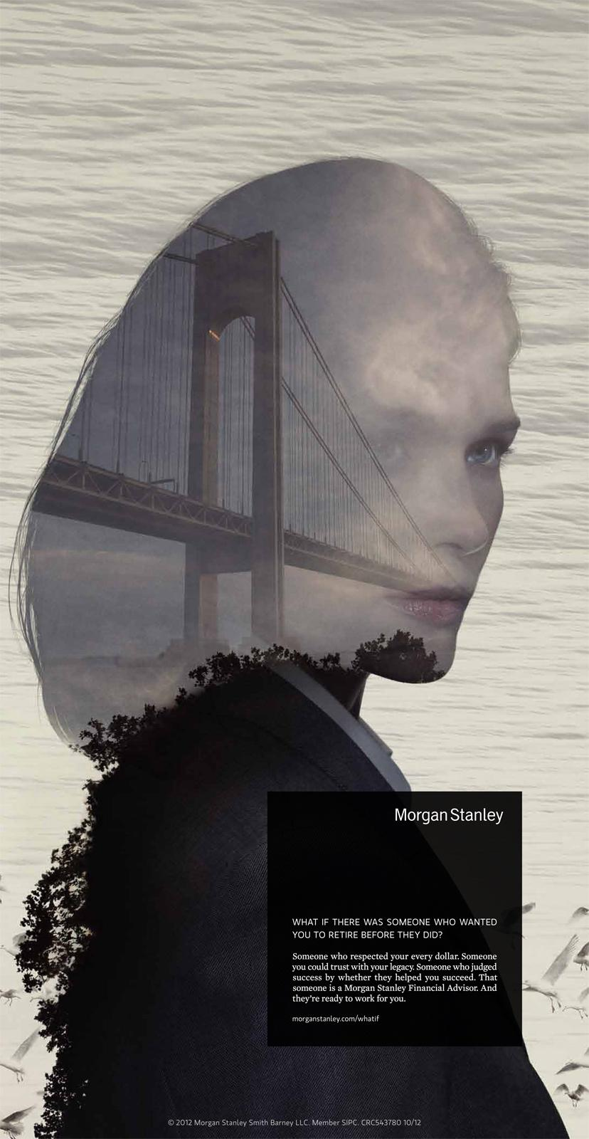 Morgan Stanley Print Ad -  Lady with bridge