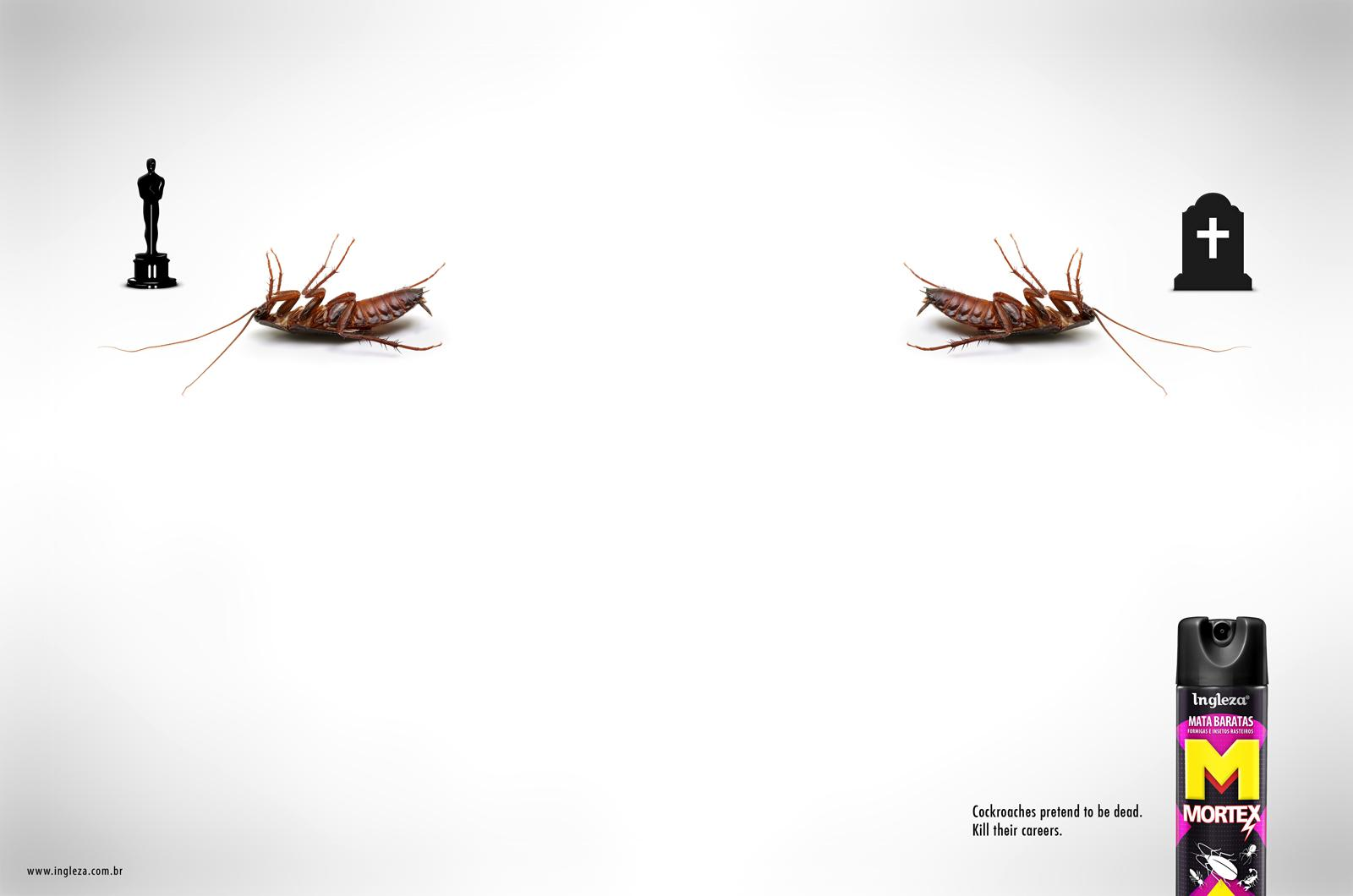 Mortex Print Ad -  Cockroaches pretend to be dead