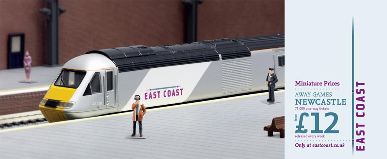 East Coast Trains Print Ad -  Miniature prices, Motty