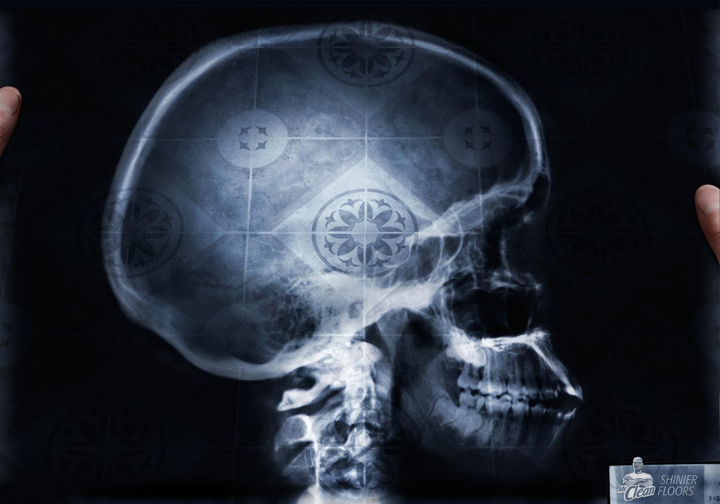Mr. Clean Print Ad -  Skull