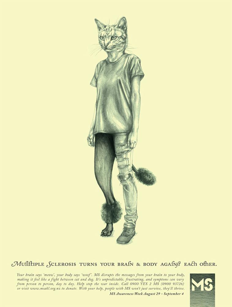 Multiple Sclerosis Society Print Ad -  Cat vs Dog