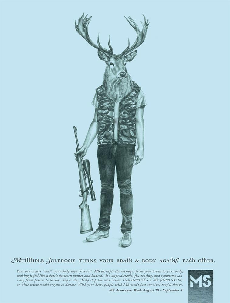 Multiple Sclerosis Society Print Ad -  Hunter vs Deer