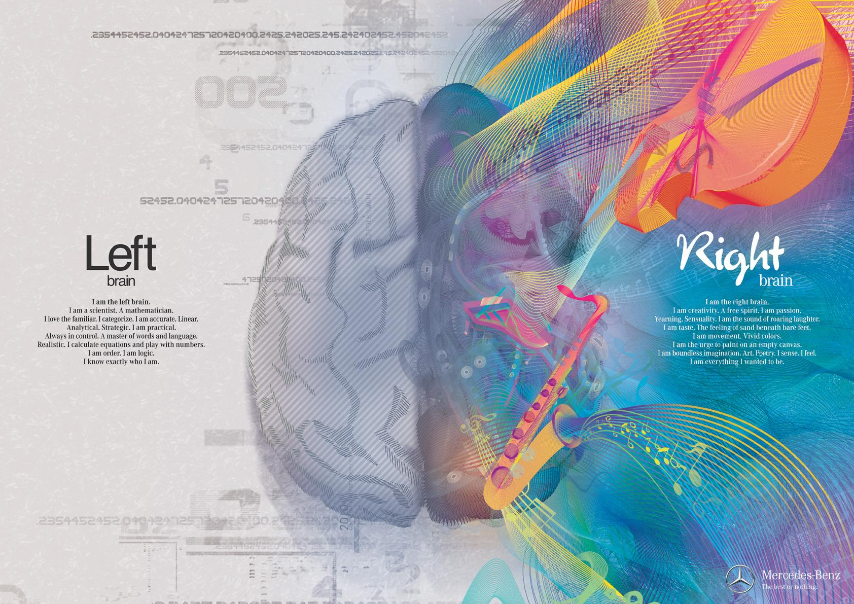 Mercedes Print Ad -  Left Brain - Right Brain, Music