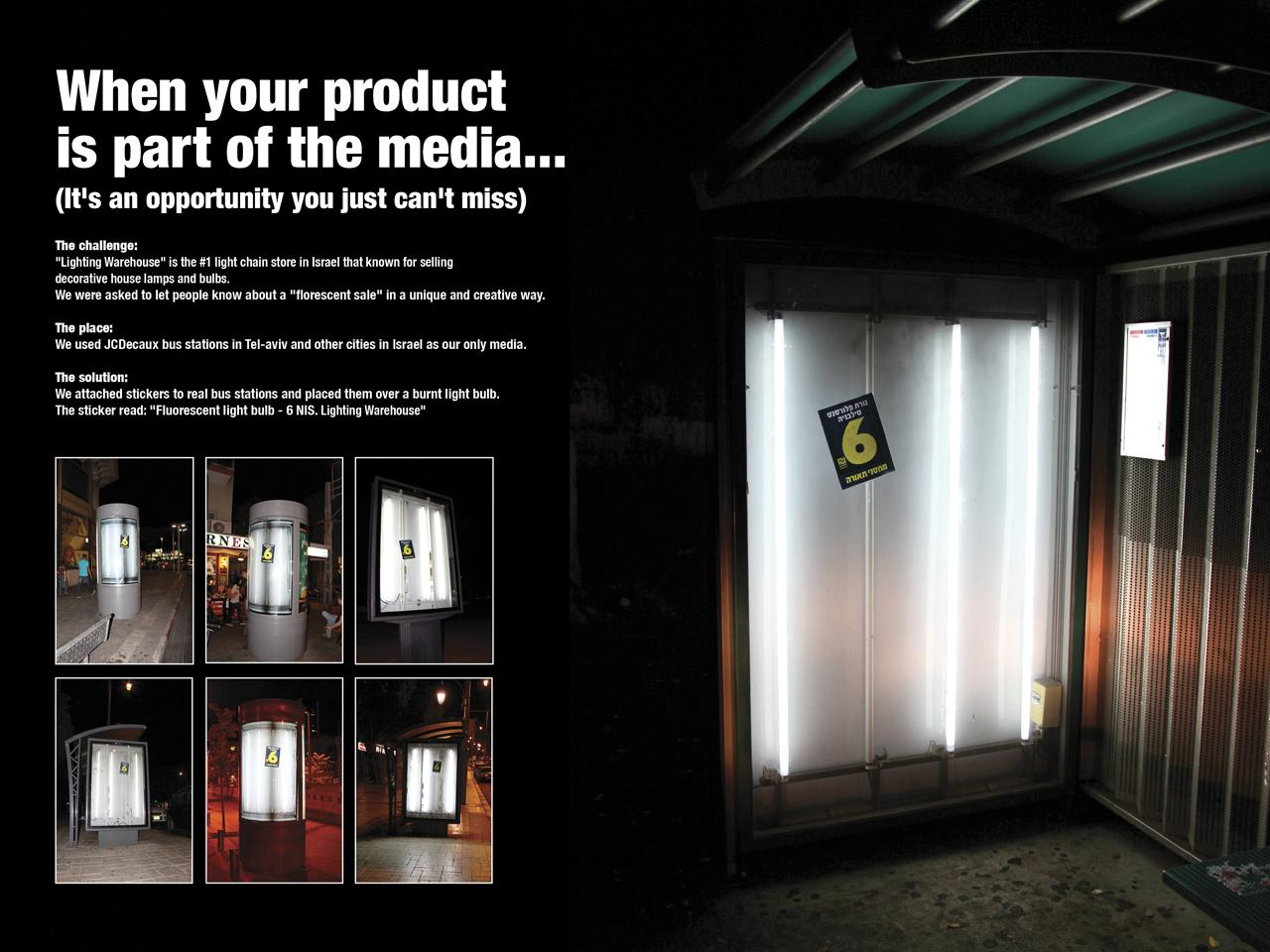 Lighting Warehouse Outdoor Ad -  Burnt light bulb bus stop
