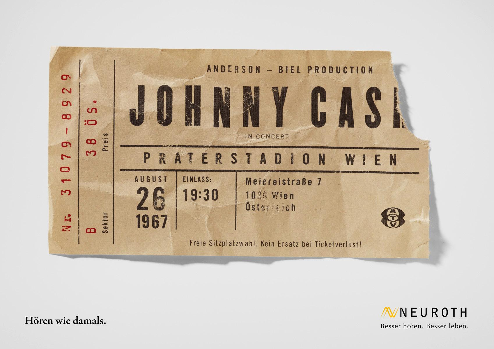 Neuroth Print Ad -  Concert Tickets, Johnny Cash