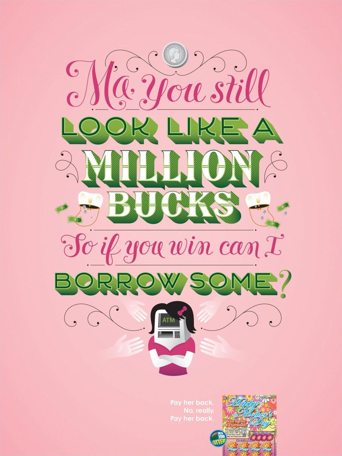 New York Lottery Print Ad -  Million Bucks