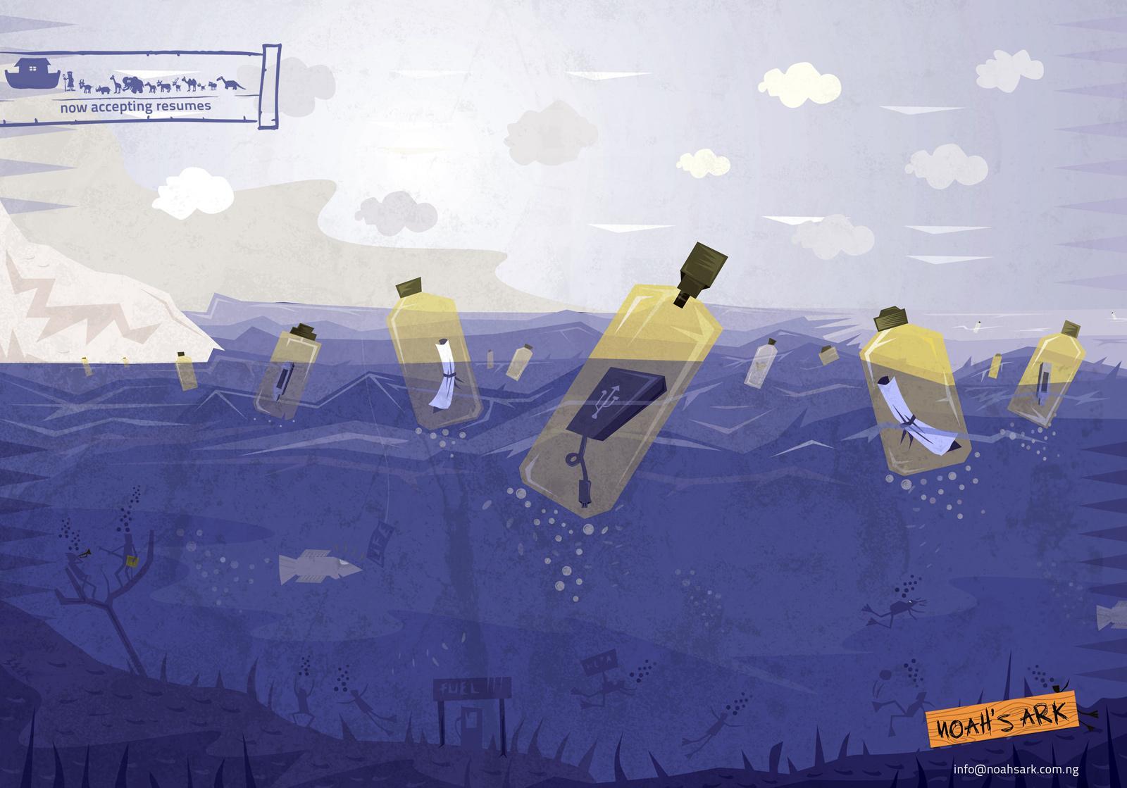 Noah's Ark Creative Print Ad -  Bottles