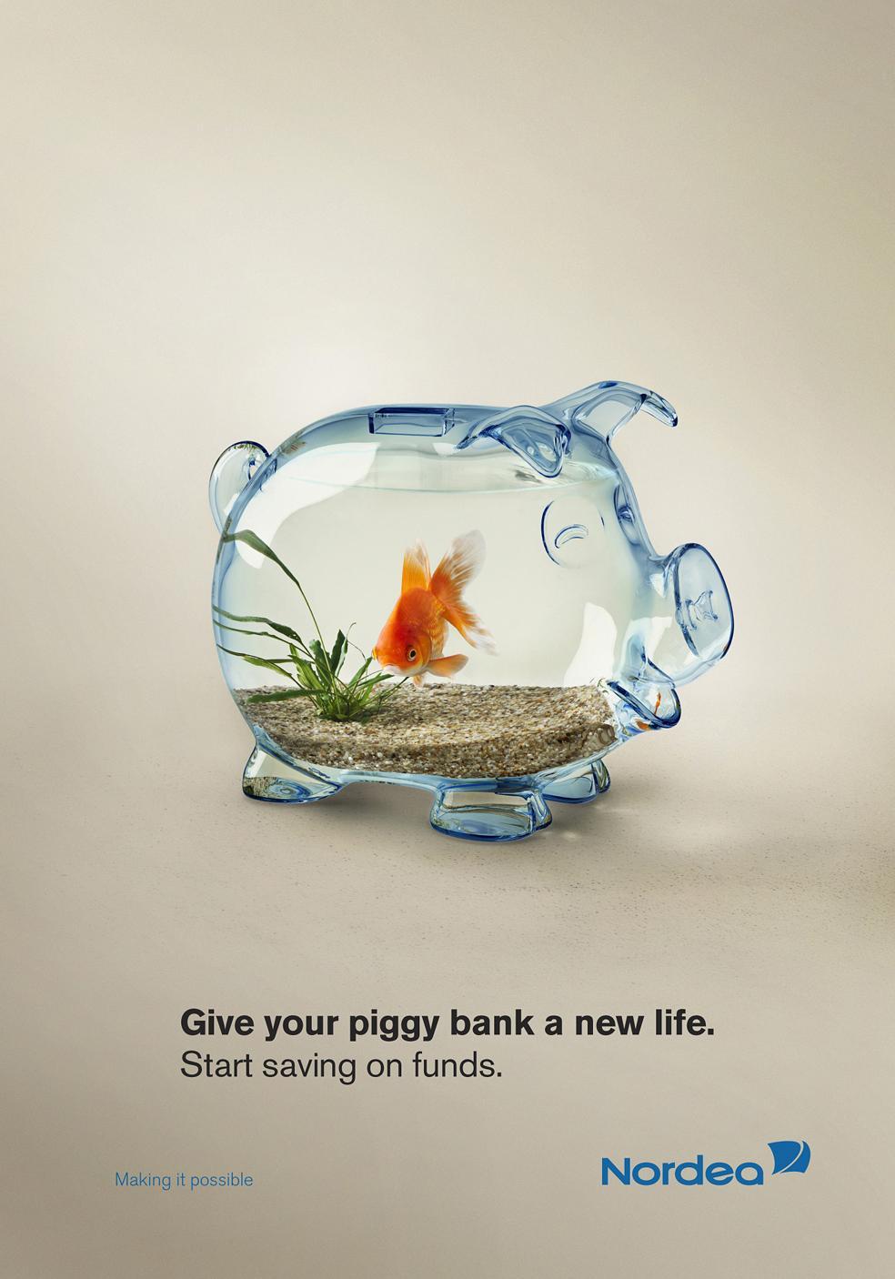 Nordea Bank Print Ad -  A new life for piggy bank, Goldfish
