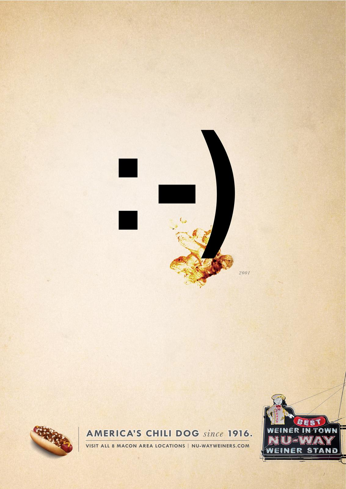 Nu-Way Weiners Print Ad -  Emoticon