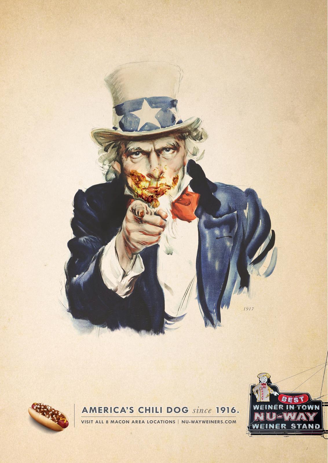 Nu-Way Weiners Print Ad -  Uncle Sam