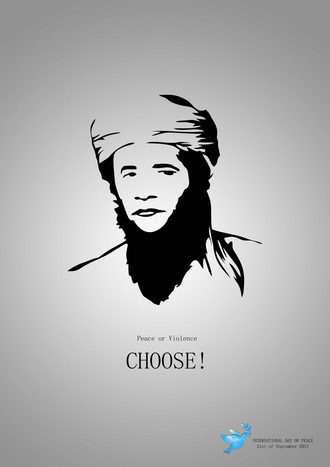 World Peace Day Print Ad -  Obama / Osama