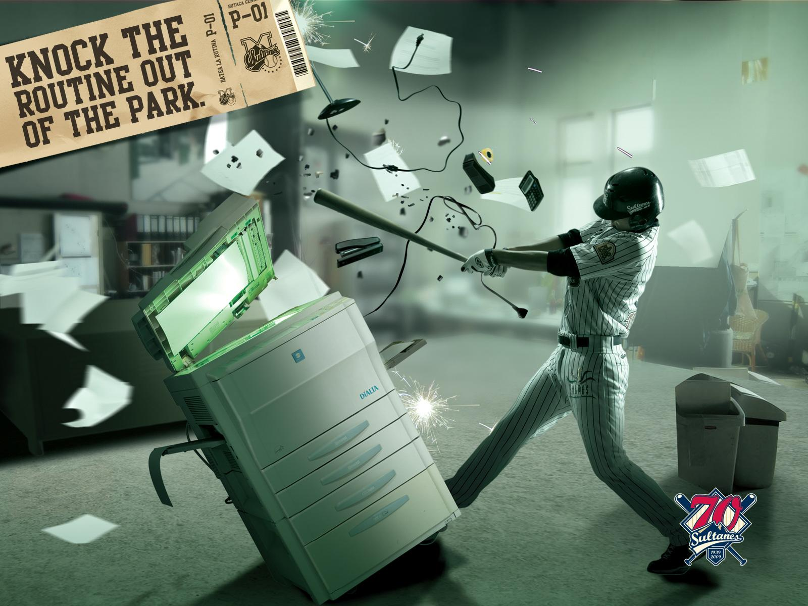 Sultanes Print Ad -  Knock the Routine out of the Park, Office