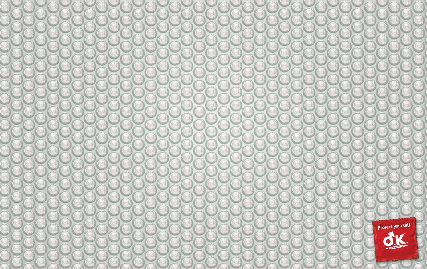O.K. Condom Print Ad -  Bubble