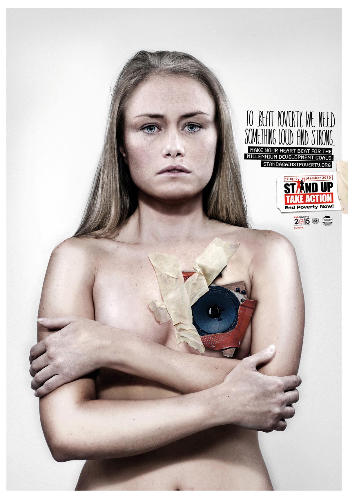 UN Millenium Development Goals Print Ad -  Loudspeaker blonde woman
