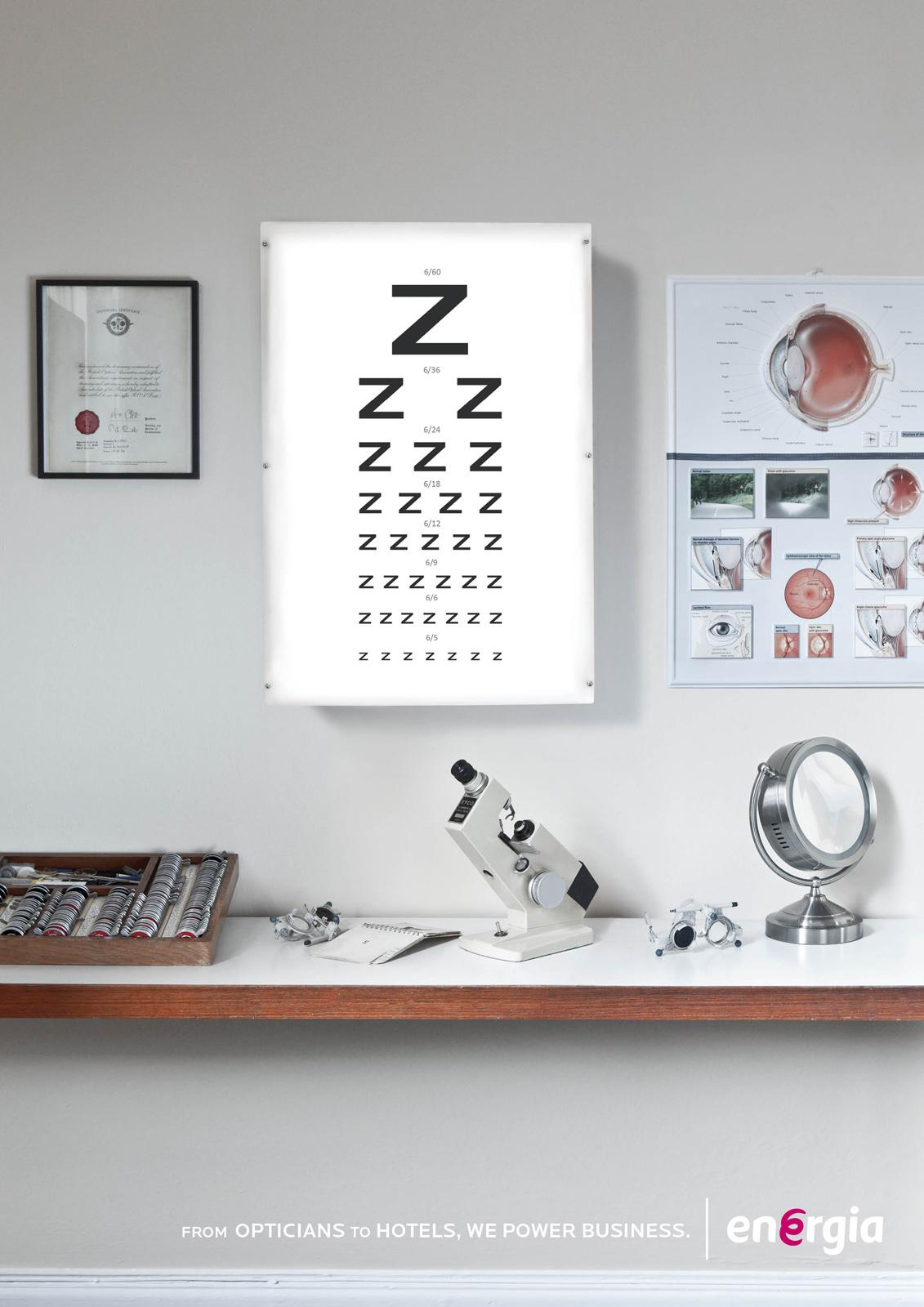 Energia Print Ad -  Opticians to hotels