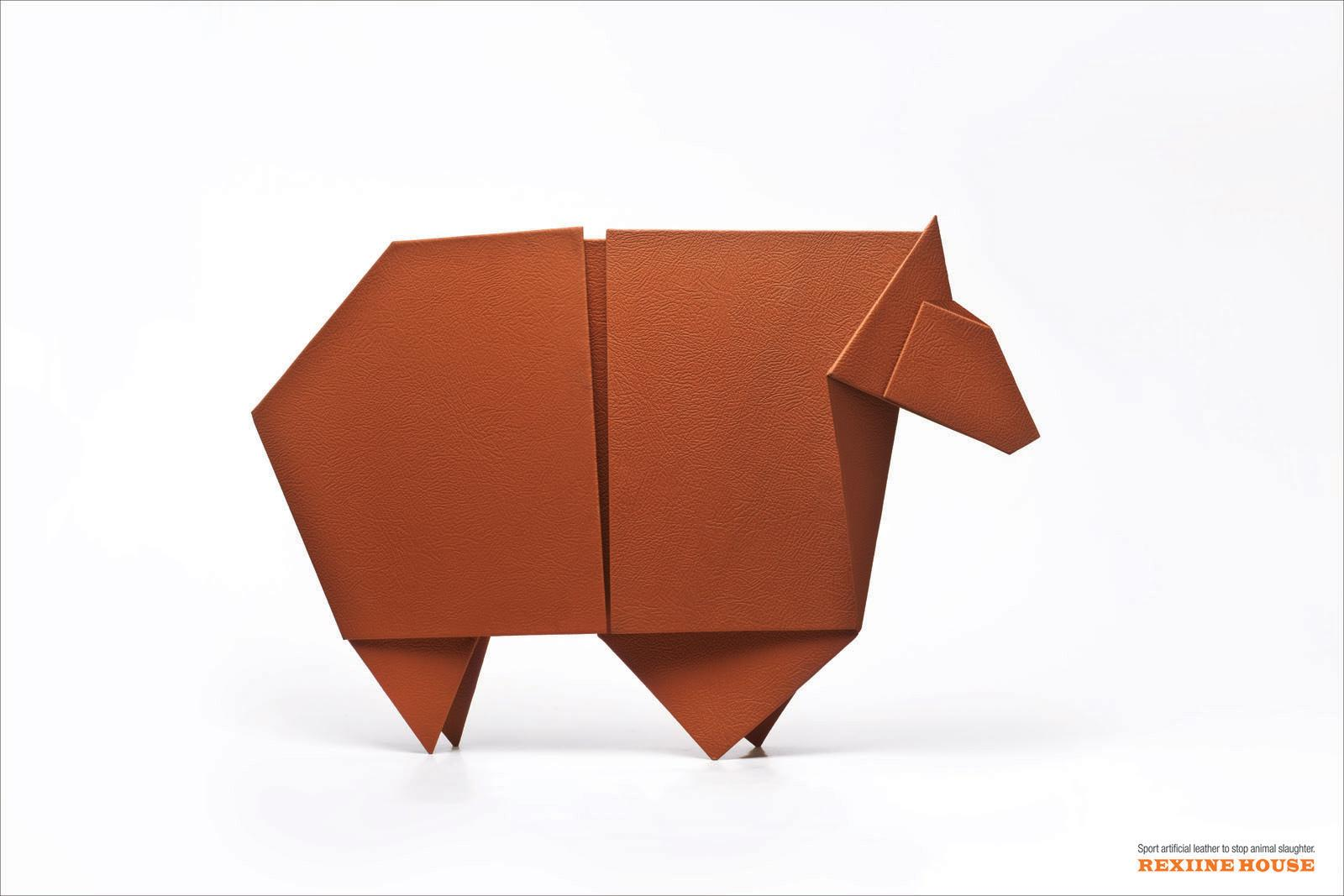 Rexiine House Print Ad -  Origami Cow