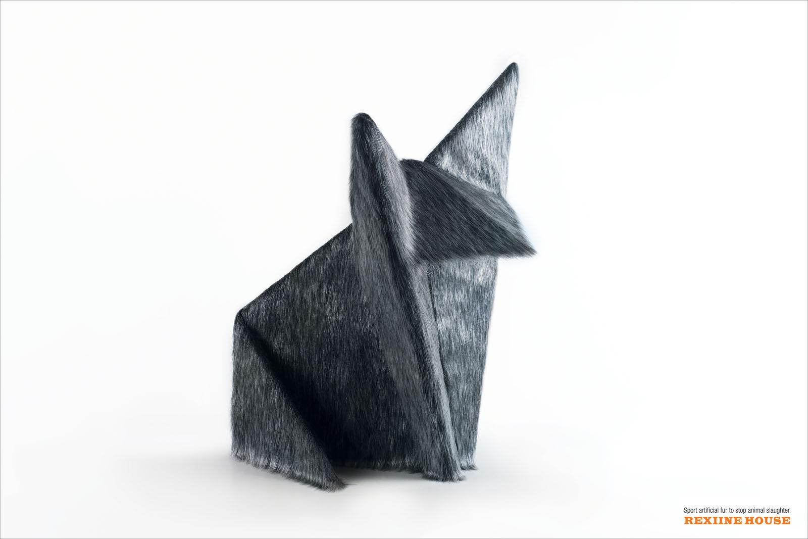Rexiine House Print Ad -  Origami Wolf