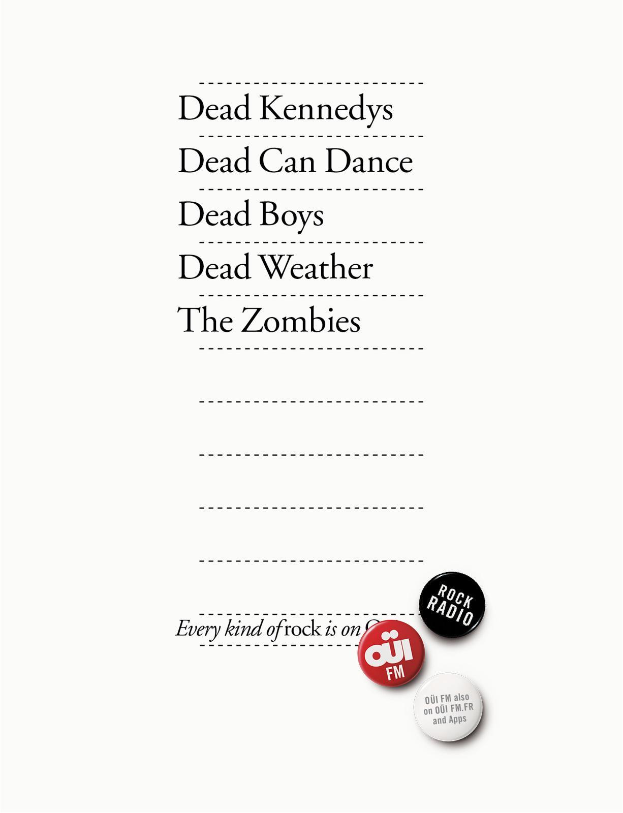 Oui FM Print Ad -  Every kind of rock, 3