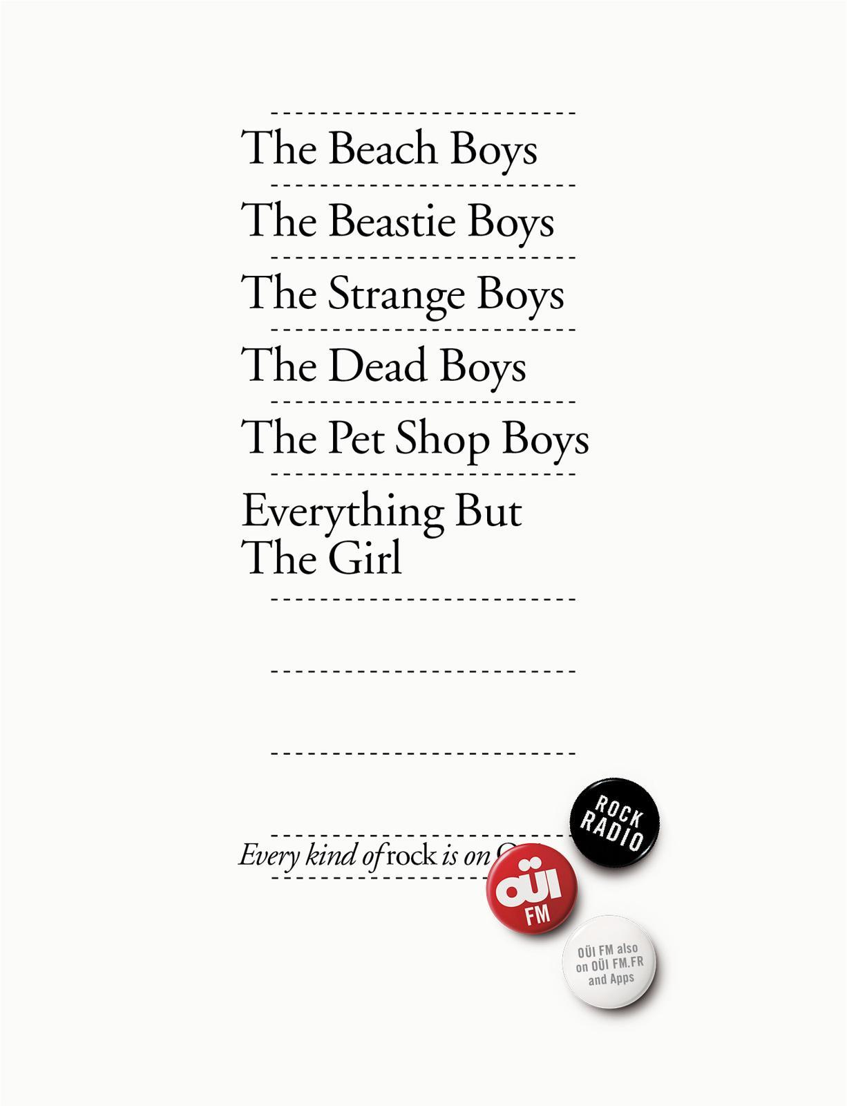 Oui FM Print Ad -  Every kind of rock, 5