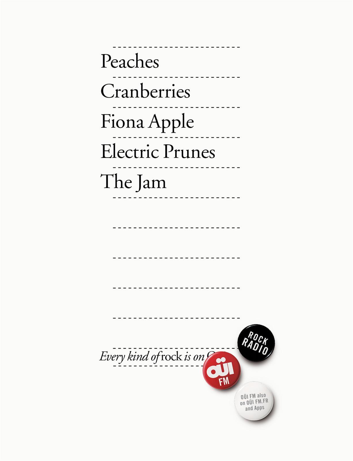 Oui FM Print Ad -  Every kind of rock, 6