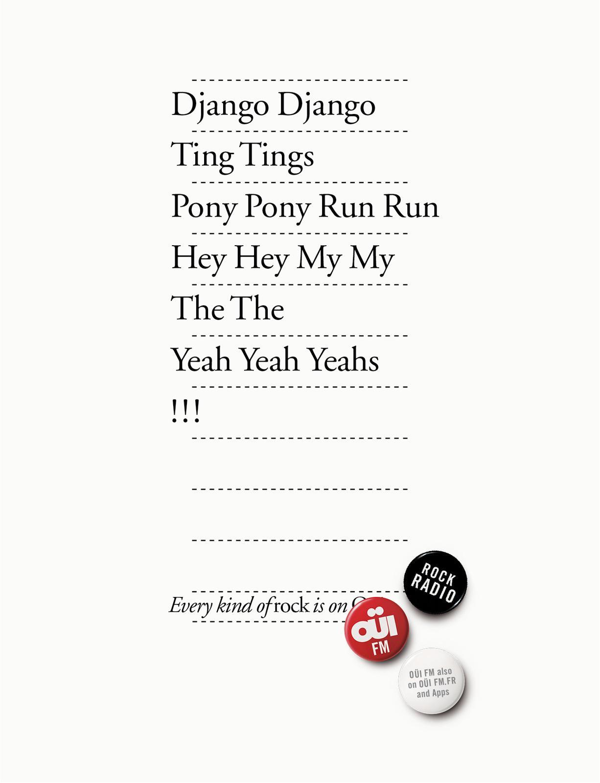 Oui FM Print Ad -  Every kind of rock, 8