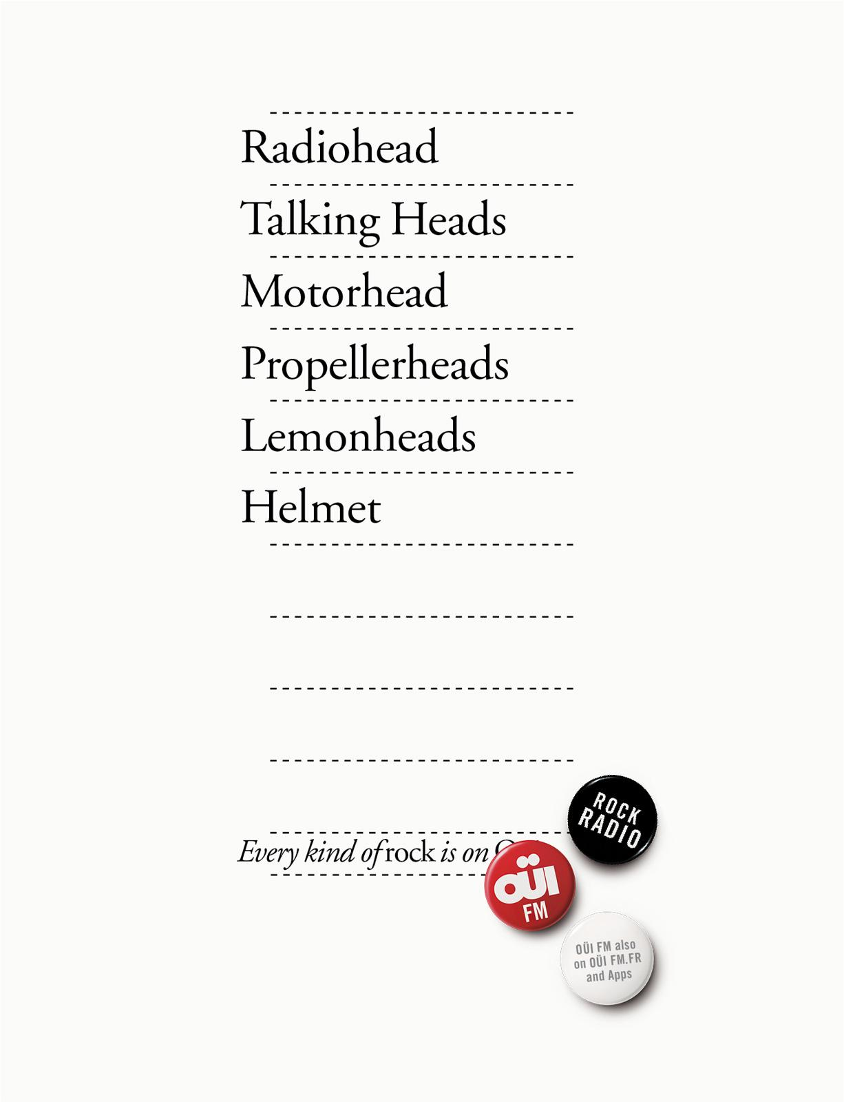 Oui FM Print Ad -  Every kind of rock, 9