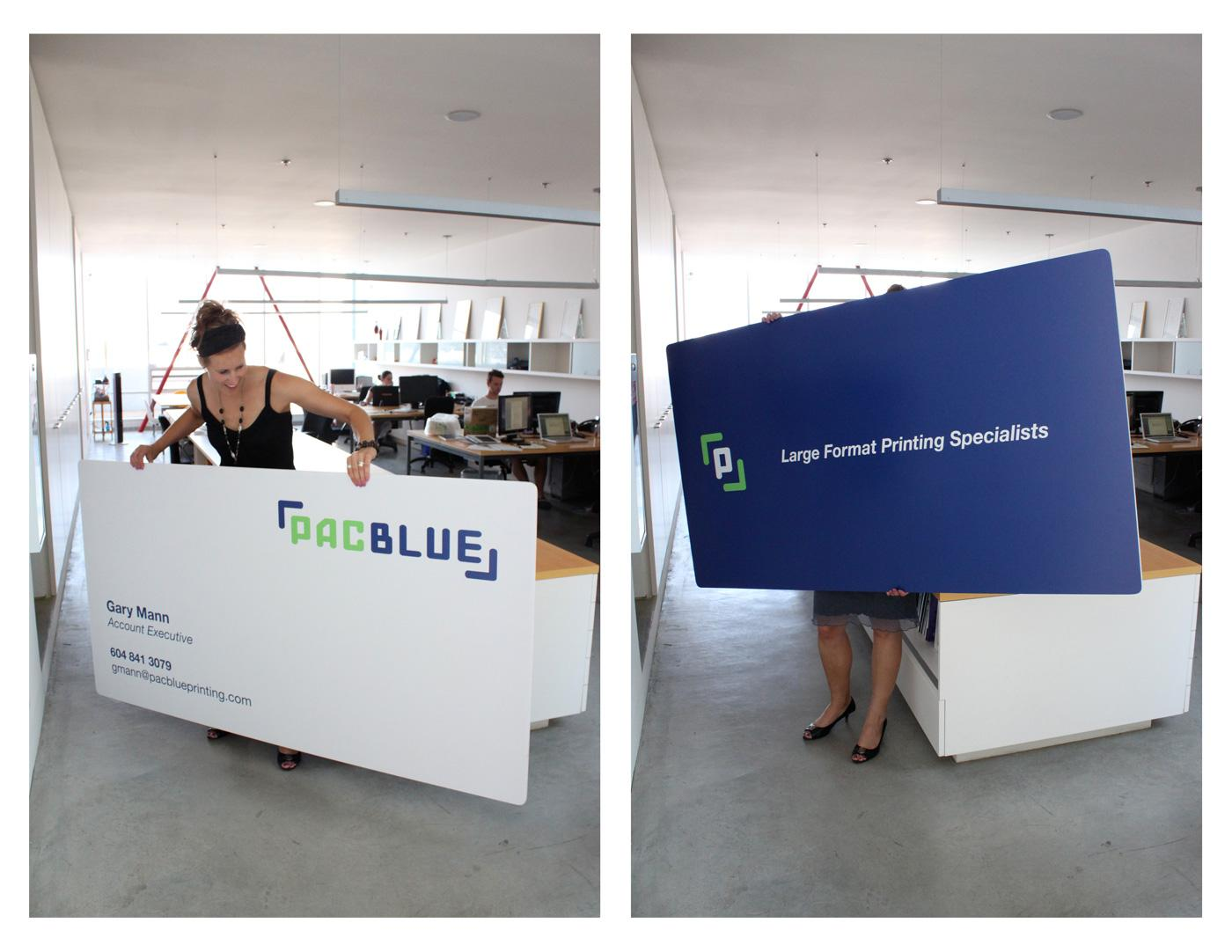 PacBlue Direct Ad -  Oversize business cards