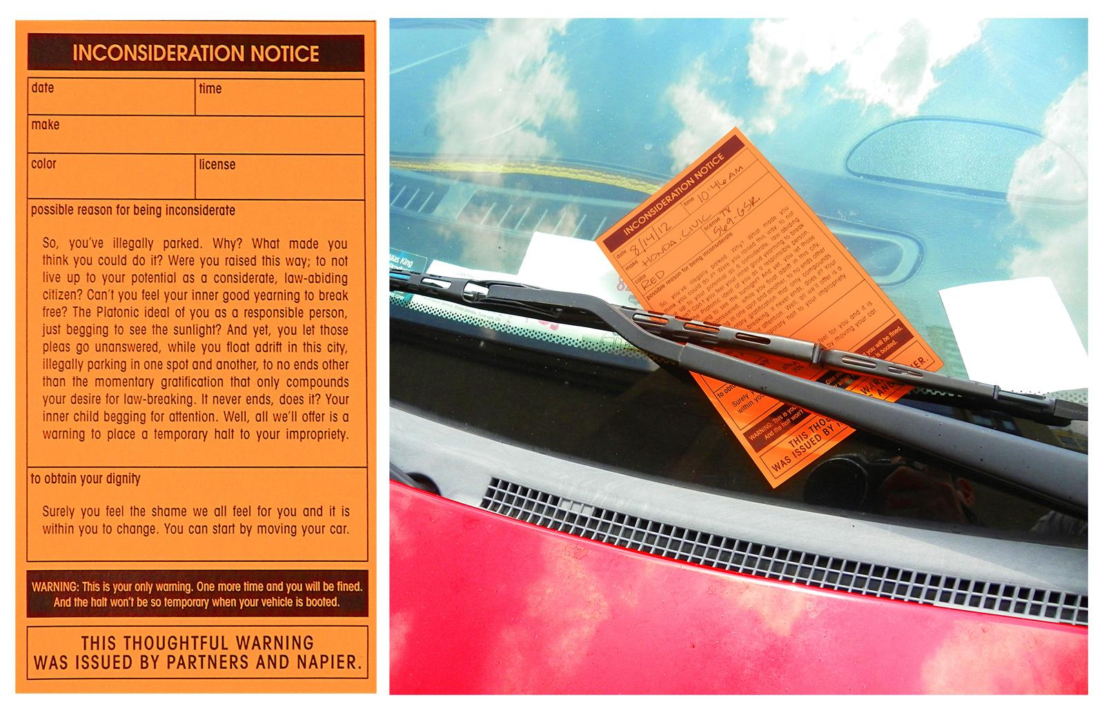 Partners + Napier Direct Ad -  Parking ticket on car