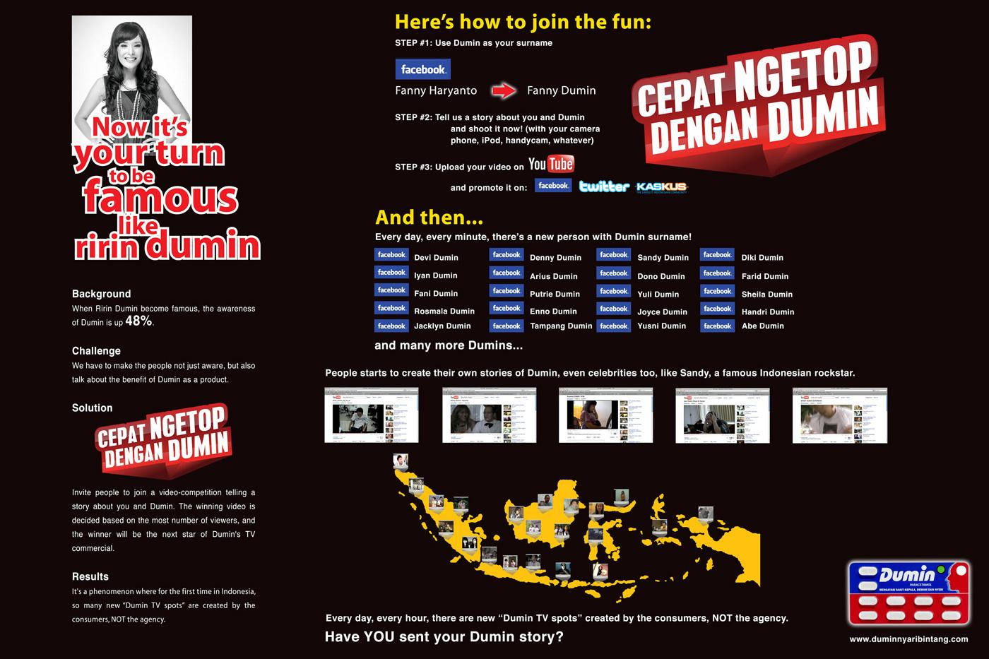 Dumin Digital Ad -  Ririn Dumin, Part two  Now it's your turn to be famous!