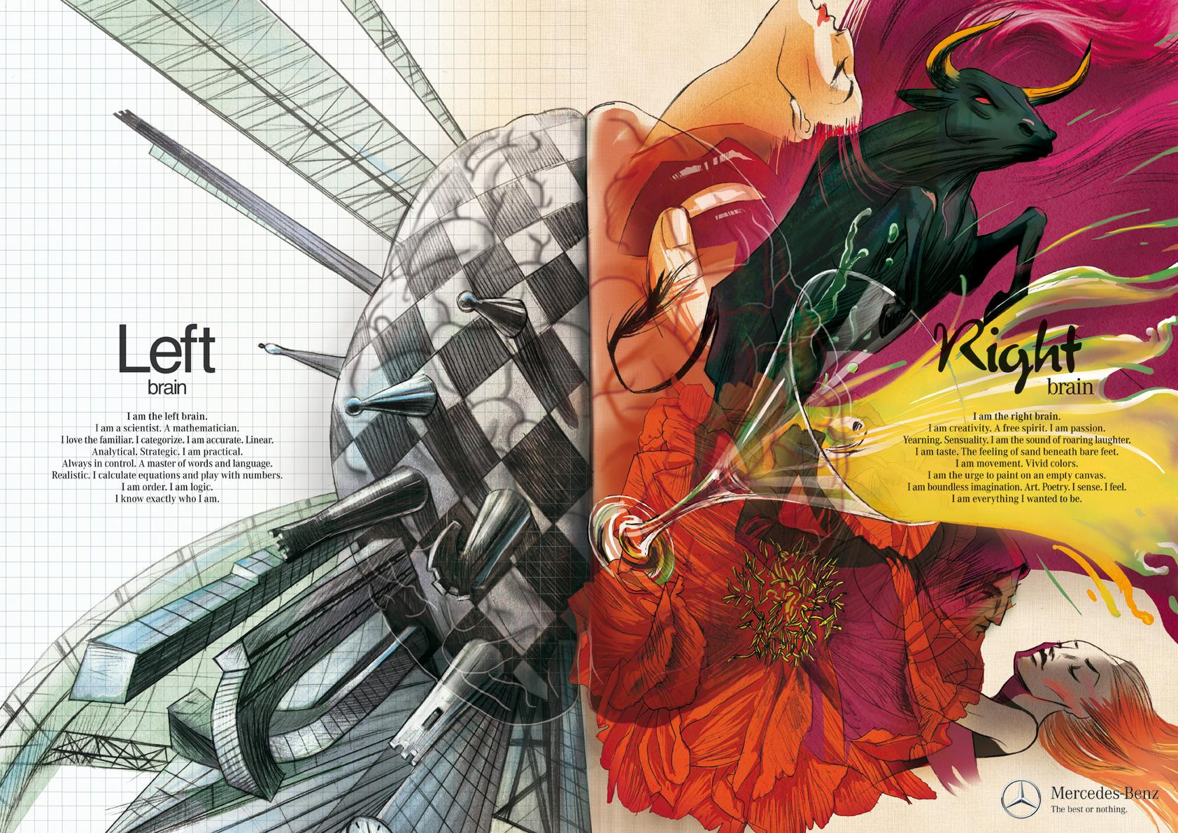 Mercedes Print Ad -  Left Brain - Right Brain, Passion