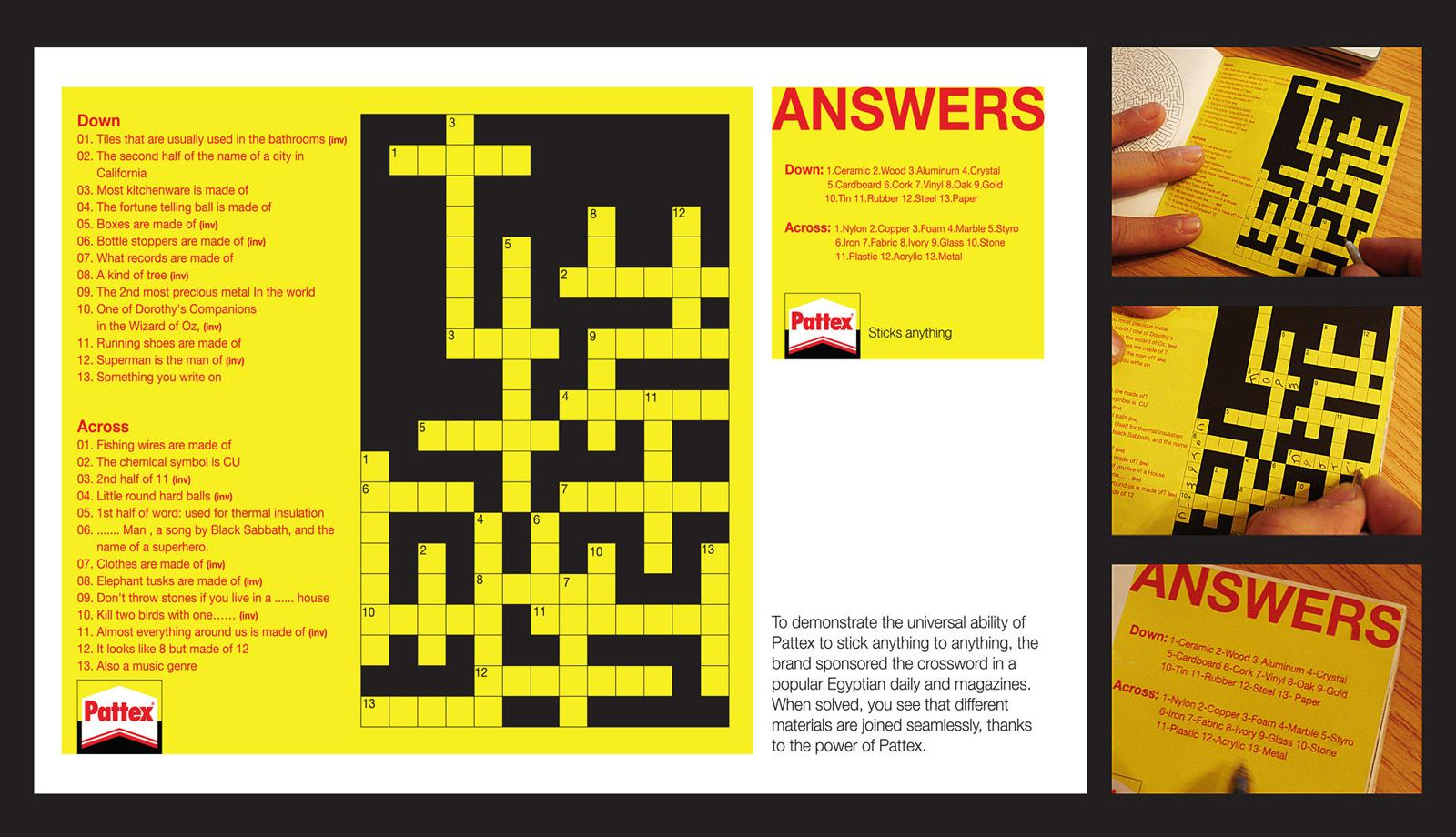 Pattex Print Advert By Tbwa Crossword Puzzle Ads Of The World