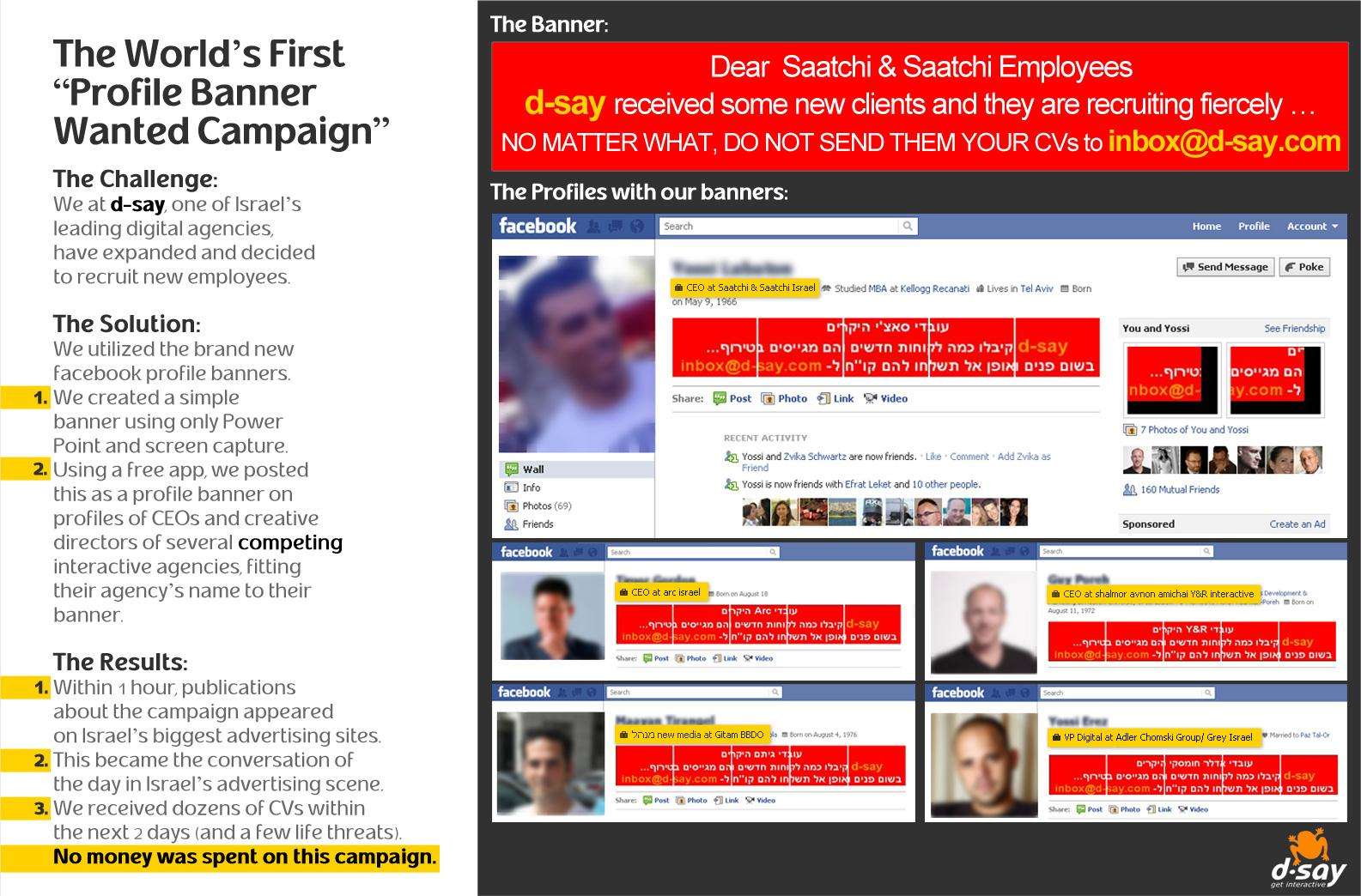 D-Say Digital Ad -  The World's First Profile Banner Wanted Campaign
