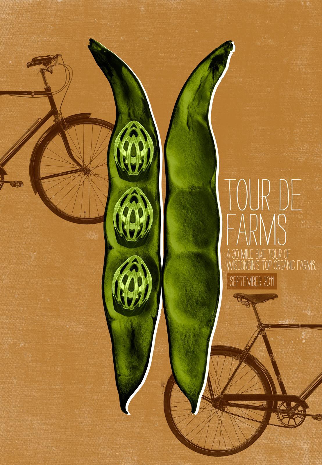 Braise Local Food Print Ad -  Tour de Farms, Peapod helmets