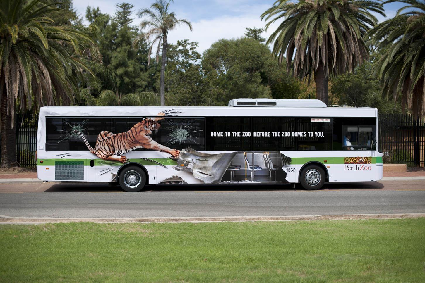 Perth Zoo Outdoor Ad -  Tiger Bus